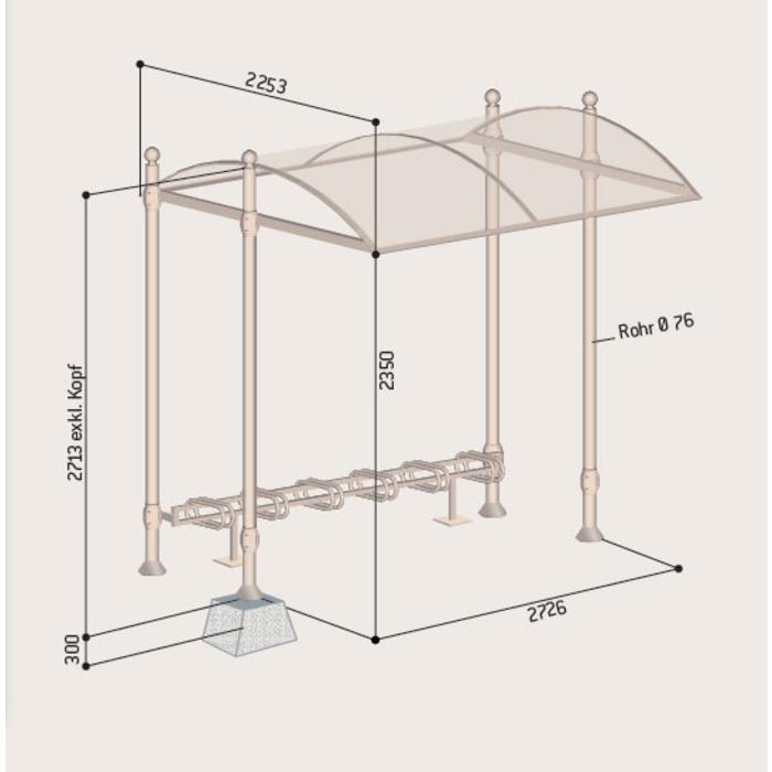 berdachungssystem bowl einseitig inkl fahrradst nder. Black Bedroom Furniture Sets. Home Design Ideas